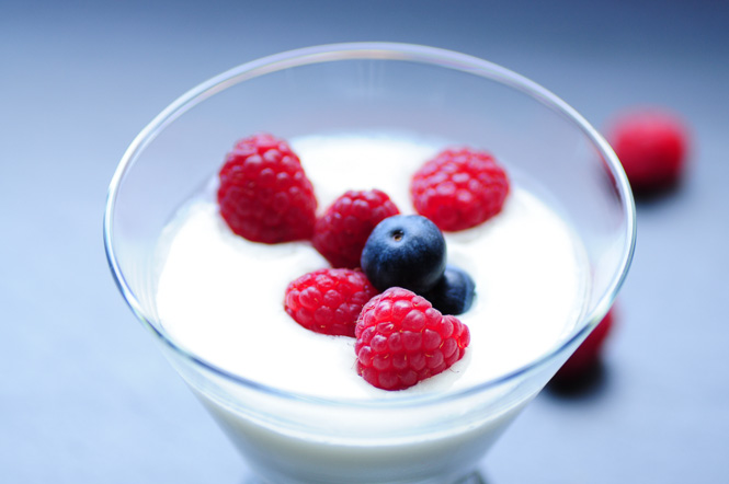 Homemade yogurt with berries